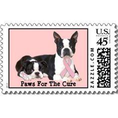 Boston Terrier Breast Cancer Postage Stamp stamp