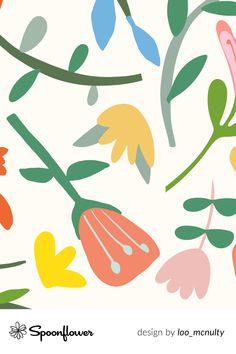 #Customize your own home decor, #wallpaper and #fabric at Spoonflower. Shop your favorite indie designs on fabric, wallpaper and home decor products on Spoonflower, all printed with #eco-friendly inks and handmade in the United States. #patterndesign #textildesign #pattern #digitalprinting #papercut #folk #abstract #flowers #colourful #summer #light Folklore, Watercolor Flowers, Abstract Flowers, Stoff Design, Spoonflower, Custom Fabric, Bunt, Style Guides, Diy Wedding