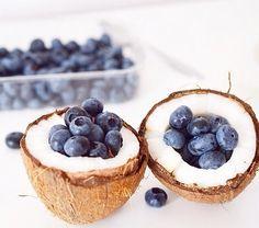 Fresh coconut & blueberries