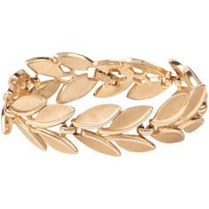 Susan Caplan Vintage 1960s Trifari Laurel Leaves Bracelet, Gold ($130) ❤ liked on Polyvore featuring jewelry, bracelets, accessories, yellow gold jewelry, leaf jewelry, costume jewelry, gold leaf jewelry and gold jewelry