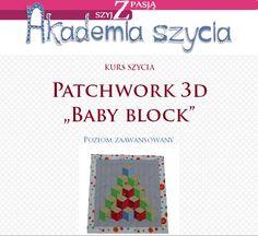 """Kurs szycia patchworku 3d - """"Baby block""""."""