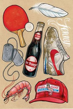 Danielle Taylor Illustration. Forrest Gump flash sheet.