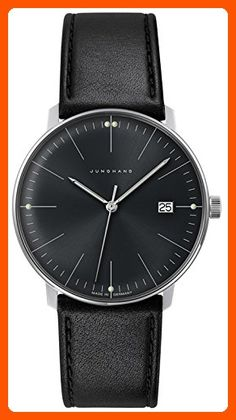 Junghans Men's 'Max Bill' Quartz Stainless Steel and Leather Dress Watch, Color:Black (Model: 041/4465.00) - Watches its about time (*Amazon Partner-Link)