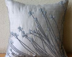 Throw Pillow Covers 16 x 16 Silver Silk Bead by TheHomeCentric