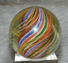 #43mw Vintage German Divided Ribbon Swirl Marble Big 1.64 Inches *Near Mint*
