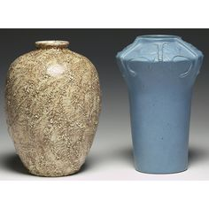 """Delft vase, bulbous form covered in a textured brown and tan glaze, marked, 7""""w x 9.5""""h; with a Delft vase, shouldered shape with a carved dragonfly design covered in a blue matt glaze, marked, 7""""w x 10""""h"""