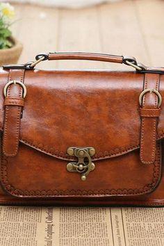 Vintage Double Buckle Shoulder Bag