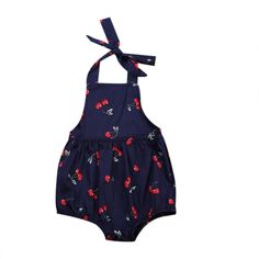 >> Click to Buy << 2017 Summer Cute Newborn Baby Girls Cherry Printed Princess Baby Girl Romper Sleeveless Backless Halter Jumpsuit Outfits Sunsuit #Affiliate