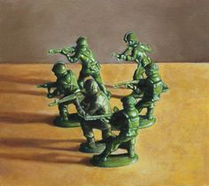 Allan Innman, Firing Squad oil on muslin mounted to panel 2011 Army Men Toys, Advanced Higher Art, Green Army Men, Still Life Art, High Art, Toy Soldiers, Toys Photography, Back In The Day, Shadow Box