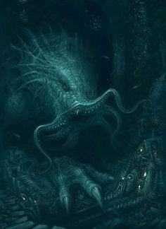 Epic Cthulhu Design Inspirations - Illustrations & Artwork from Mythology Art Cthulhu, Lovecraft Cthulhu, Hp Lovecraft, Arte Horror, Horror Art, Le Kraken, Kraken Art, Lovecraftian Horror, Sea Monsters