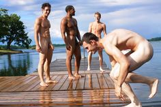 Naked men skinny dipping