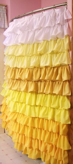 Yellow Ruffled Shower Curtain