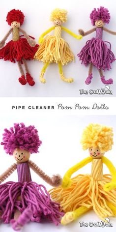 Create dolls using pom poms and pipe cleaners
