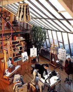 Ruben Toledo Artist's Studio NYC, lots of lovely windows