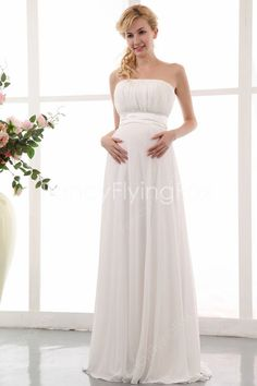 Stunning Ivory Strapless Neckline Empire Floor Length Maternity Wedding Gowns at fancyflyingfox.com