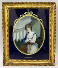 A good 18th/19th century gilt-wood framed Chinese reverse glass painting of Sophronia, circa 1800, the reverse with a Martyn Gregory label. Est. £1,500 - £2,000.