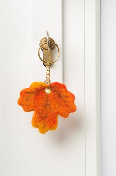 Wool Needle Felted Keychain Bag Charm with Orange by LigaKandele, $19.00