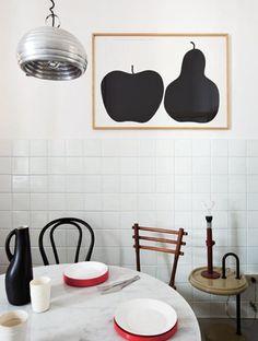 la Mela e la Pera by Enzo Mari in a modern kitchen.