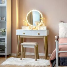 Makeup Tables and Vanities You'll Love in 2020 | Wayfair Bedroom Vanity Set, Vanity Table Set, Makeup Table Vanity, Vanity Set With Mirror, Vanity Decor, Wood Vanity, Dresser With Mirror, Mirror 3, Makeup Tables