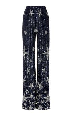 Star Sequin Pants by Naeem Khan Sequin Pants, Long Sleeve Gown, Naeem Khan, White Mini Dress, Navy Blue Dresses, Royal Fashion, Straight Leg Pants, Elie Saab, Christian Dior
