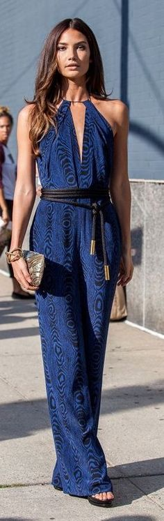 Blue Print Halter Jumpsuit. Summer street #women #fashion outfit #clothing style apparel @roressclothes closet ideas