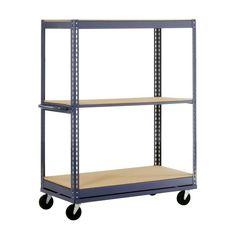 Edsal 54 in. H x 36 in. W x 24 in. D 3-Shelf Mobile Steel Commercial Shelving Unit in Gray