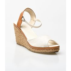 Beige & Tan Peep Toe Bypass Espadrille Wedge Sandals (765 UAH) ❤ liked on Polyvore featuring shoes, sandals, ivory, wedge shoes, ivory wedge sandals, peep toe wedge sandals, platform wedge sandals and wedge espadrilles