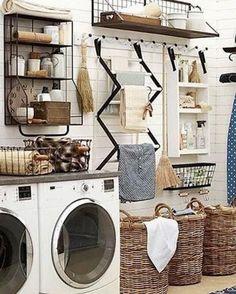 100 Fabulous Laundry Room Decor Ideas You Can Copy - laundry room decor idea with great organization. Love it! #LaundryRoomDesign #HomeDecorIdeas