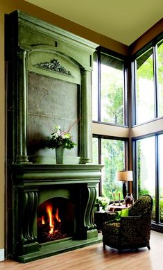 rich green fireplace, chair, vintage/distressed look