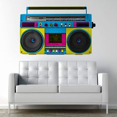 Retro Boombox wall decal print above the couch