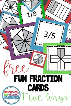 Free Fun Fraction Cards-Five Ways