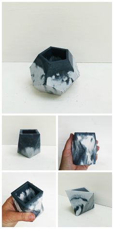 Learn how to make stunning DIY marbled concrete planters. Tutorial for how to achieve different effects with colored concrete. Concrete Pots, Concrete Crafts, Concrete Projects, Concrete Design, Diy Cement Planters, Wall Planters, Succulent Planters, Succulents Garden, Diy Projects Love