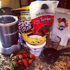 Smoothie time #strawberries #almonds #blueberries #banana #greekyogurt #milk #yum #drinkup #nutribullet #nutriblast