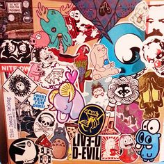 Sticker bombed dresser. #cutecoolawesome ---> Repinned by www.gers.nl