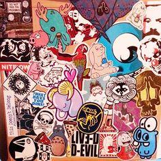 Sticker bombed dresser. #cutecoolawesome ---> Repinned by www.gers.nl