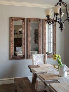Sala de jantar com espelho estilo rústico