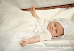 This sweet christening gown for girls has pretty embroidery over organza. Fully lined. Available at Christian Expressions of Rhode Island. Quality made in the USA Christening Gowns For Girls, Boy Christening Outfit, Baptism Outfit, Baptism Gown, Baby Baptism, Baby Hats, Suits, Christian, Usa