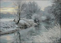 Winner of the Caran d'Ache/Jakar award at Patchings Exhibition 2013. Icy Vista by the Welland by Peter Barker.