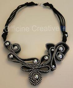 Fabric Necklace, Fabric Jewelry, Diy Necklace, Zipper Jewelry, Leather Jewelry, Handmade Accessories, Jewelry Accessories, Jewelry Design, Zipper Flowers