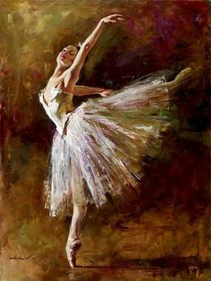 I actually have this painting in my room! My housemate painted it and gave it to me because I love ballet so much. :)