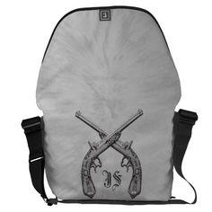 Crossed Pistols Personalized Large Messenger Bag  #zazzle  www.leatherwooddesign.com
