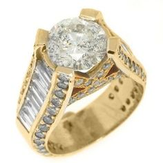 Yellow Gold Baguette & Round Diamond Engagement Ring