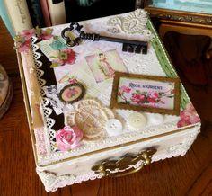 Altered Cigar Box with Vintage Key Shabby Chic Decor  via Etsy.