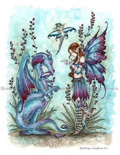Dragon and fairy 8.5x11  PRINT by Amy Brown Bad by AmyBrownArt, $14.00