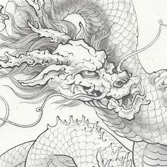 Japanese Phoenix Tattoo, Japanese Dragon Tattoos, Japanese Tattoo Art, Japan Painting, Ink Painting, Dragons, Traditional Japanese Art, Demon Art, Dragon Artwork