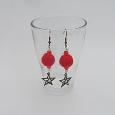 Novelty Christmas Earrings - red felted ball and star £4.50