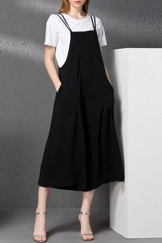 Strappy Twin Pocket Wide Leg Jumpsuit