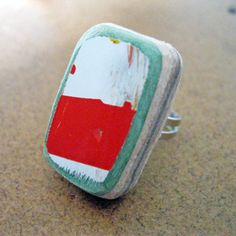Adjustable Recycled Skateboard Wood Ring  Red by TakeTwoSkateShop, $7.00