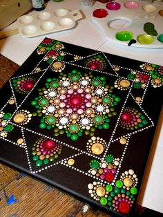 7 chakras Mandala on inches wood circles by Pierre du Coeur So vivid with colours !These would be pretty as coasters with some good sealer. Dot Art Painting, Mandala Painting, Tole Painting, Mandala Design, Mandala Pattern, Painted Rocks, Hand Painted, Painted Bamboo, Mandala Canvas