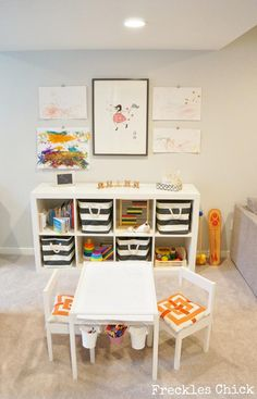 freckles chick: play area : love the seat cushions/baskets for storage/side storage for art supplies